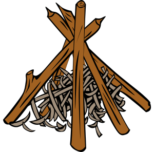 Teepee-style Campfire