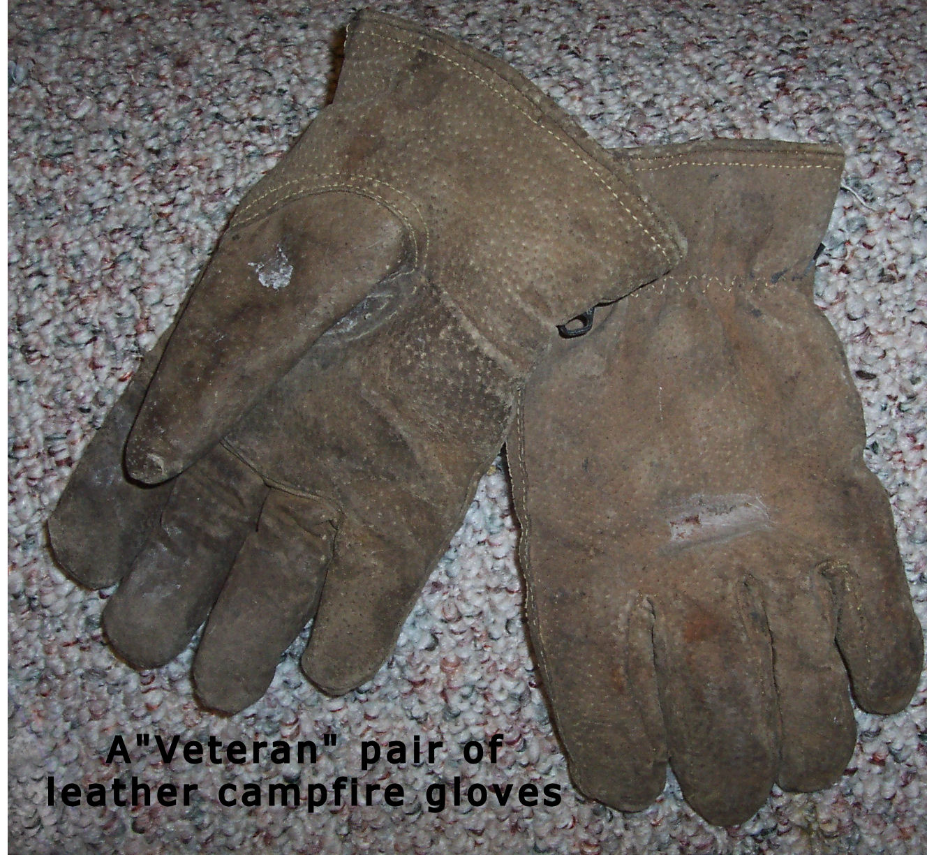 Old Leather gloves for Campfire Cooking