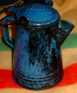 Old Enamel Camp Coffee Pot