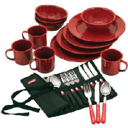 Camp Dining Set Plates and utensils