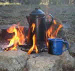 Cowboy coffee pot on campfire