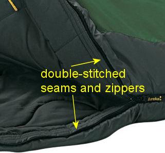 sleeping bag seams and zippers