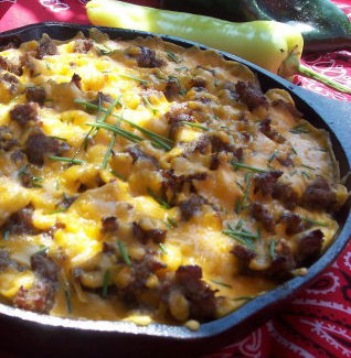 Skillet camping breakfast recipe eggs sausage