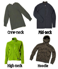 fleece and pile warmth layer clothing for winter camping