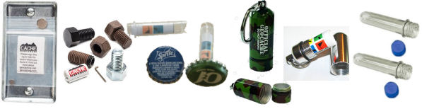sample small geocache containers