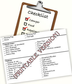 camping list printable camping checklist