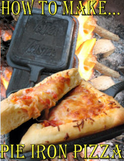 Pie Iron Pizza over Campfire for kids
