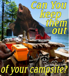 Bears and raccoons at camping table