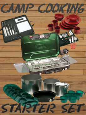 Coleman Camping Stove and cookware