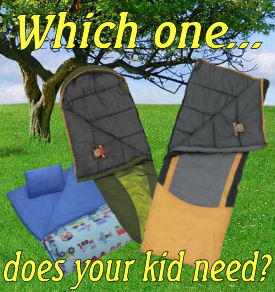 kids sleeping bags under a tree