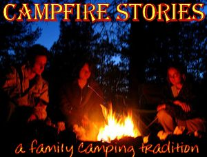 Family around campfire for campfire story