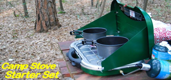 propane camp stove with pots