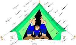 kids in tent in rain