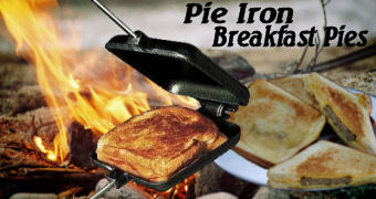 Pie Iron Breakfast Sandwiches over campfire