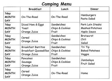 Complete hearty weekend camping menu for Camping menu planner template